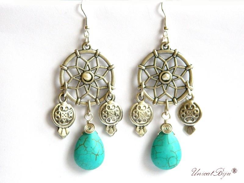 cercei placati argint, semipretioase, turcoaz, perle albe, statement, boho style, etnic, unicatbiju
