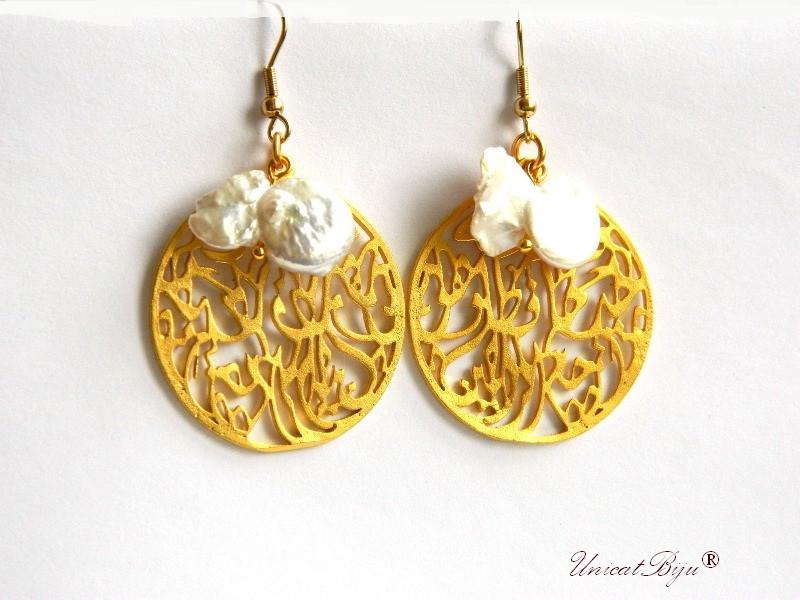 cercei placati aur, semipretioase, perle keshi mari, statement, boho style, etnic, unicatbiju