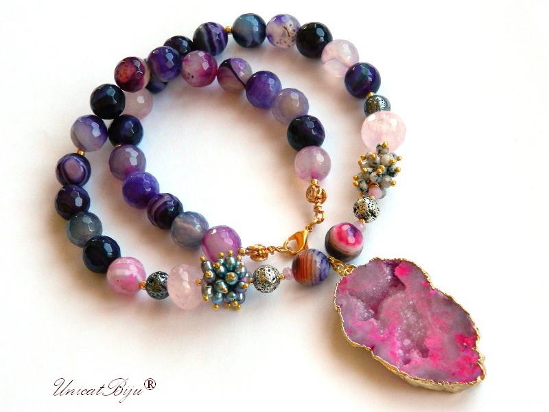colier statement, bijuterii semipretioase unicat, agat masiv mov, jasp dalmatian, perle gri, sidef natural, agat druzy aurit, unicatbiju