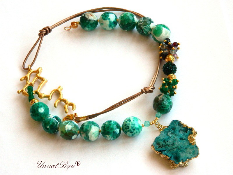 colier statement, bijuterii semipretioase unicat, agat masiv, smarald radacina, agat mov, agat druzy aurit, rhinestone, unicatbiju