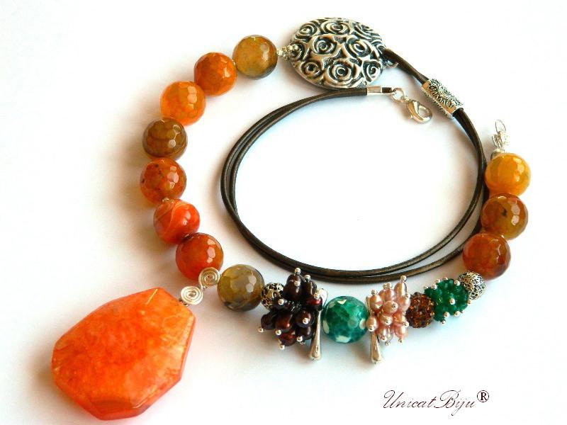 colier statement, bijuterii semipretioase unicat, agat masiv, smarald radacina, perle keshi bronz, unicatbiju