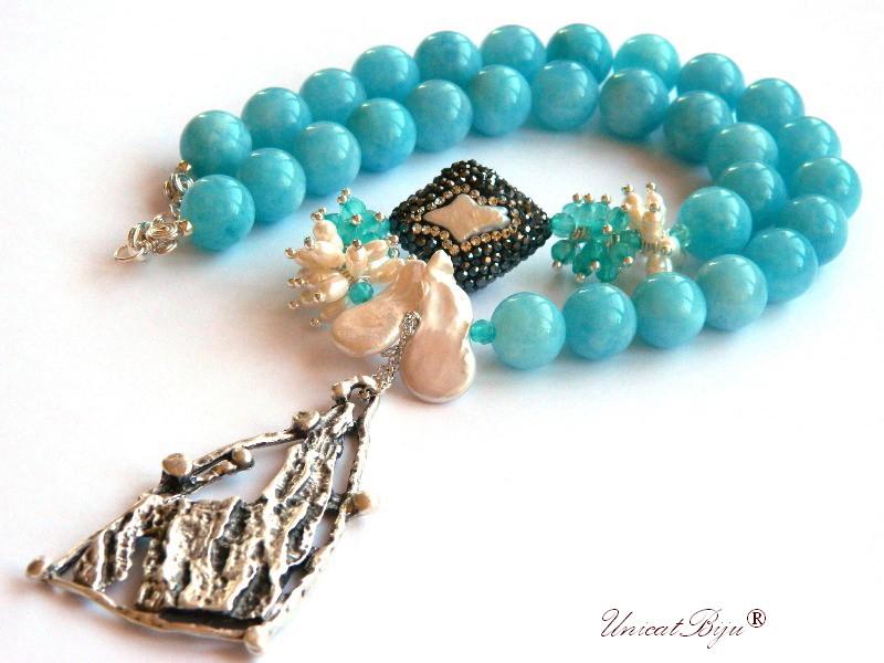colier statement, bijuterii semipretioase unicat, angelit, perle keshi, agat, jad albastru, argintat, unicatbiju