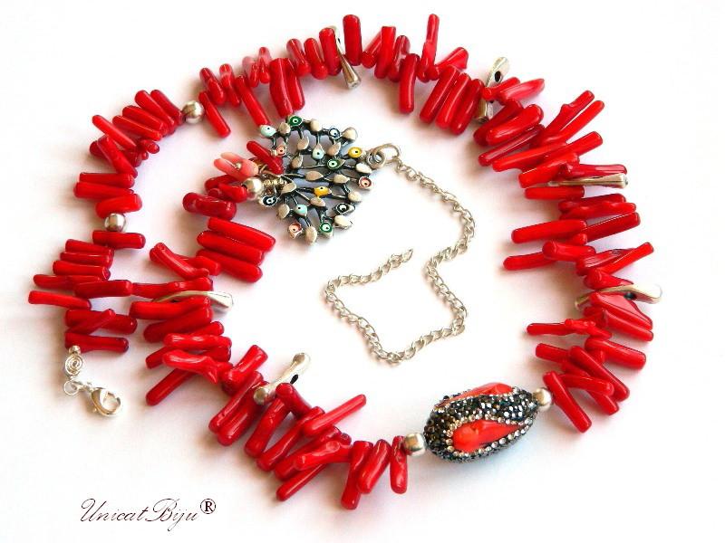 colier statement, bijuterii semipretioase unicat, coral rosu tepi, copacul vietii, talisman, rhinestone, unicatbiju