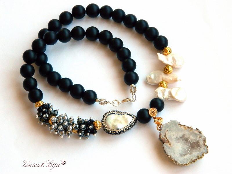 colier statement, bijuterii semipretioase unicat, onix mat, agat druzy aurit, perle keshi, hematit argintat, hematit, unicatbiju