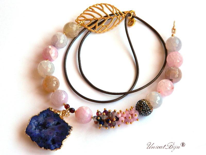 colier statement, bijuterii semipretioase unicat, perle multicolore, keshi, sidef natural, agat druzy aurit, jad roz, frunza aurita, unicatbiju