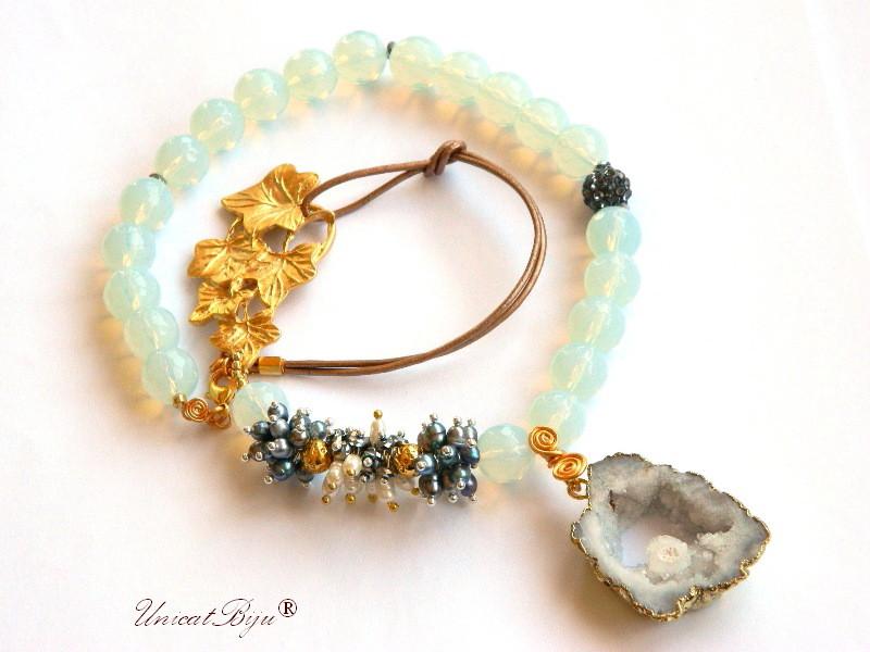 colier statement, bijuterii semipretioase unicat, perle multicolore, keshi, sidef natural, opalit, agat druzy aurit, hematit argintat, unicatbiju