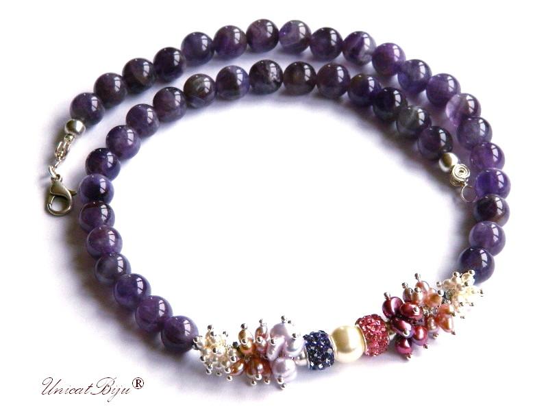 colier statement, bijuterii semipretioase, ametist, perle swarovski, cristale, perle keshi, rhinestone, unicatbiju