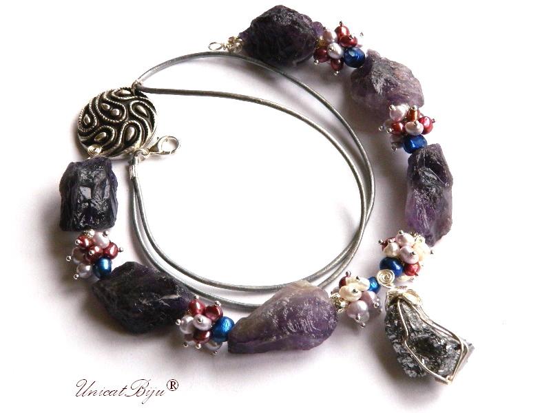 colier statement, bijuterii semipretioase unicat, ametist brut, perle multicolore, keshi, cuart titanium argintat, unicatbiju