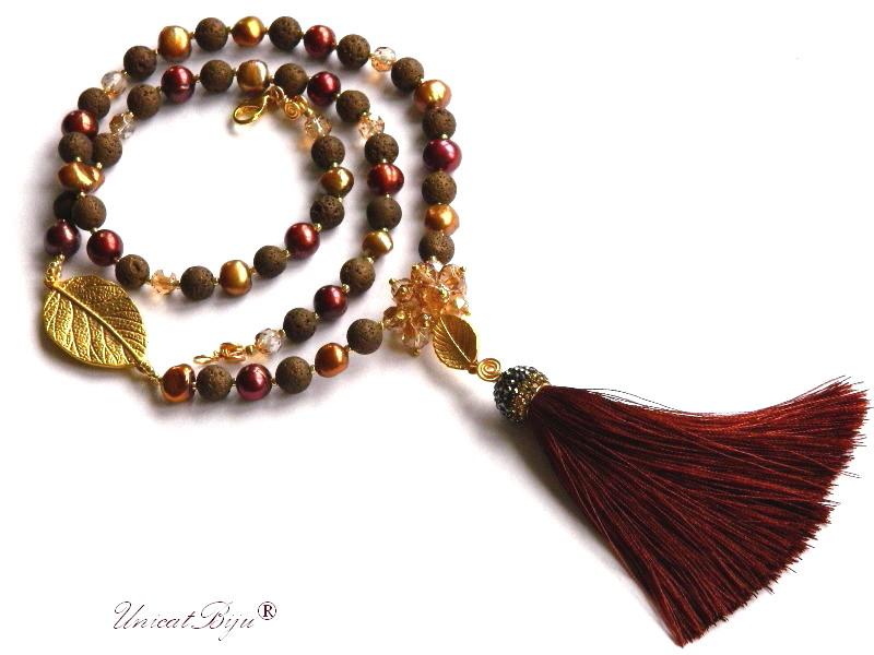 colier statement, bijuterii semipretioase unicat, ciucure matase, oriental, perle keshi, lava vulcanica, cuart, frunza aurita, unicatbiju