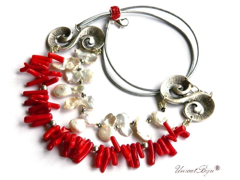 colier statement, bijuterii semipretioase unicat, coral rosu, perle keshi, salba argintata, piele naturala, unicatbiju