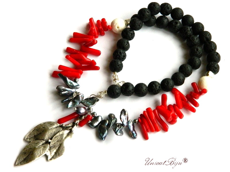 colier statement, bijuterii semipretioase unicat, coral rosu tepi, perle biwa negre, lava vulcanica neagra, salba argintata, unicatbiju