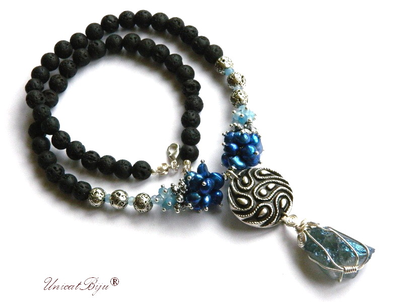 colier statement, bijuterii semipretioase unicat, cuart titanium albastru, perle cobalt, keshi, jad bleu, lava vulcanica neagra, unicatbiju
