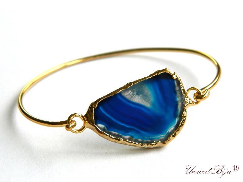 bratara reglabila, bratara placata cu aur 24K, agat albastru, bijuterii semipretioase unicat, lucrat manual, unicatbiju