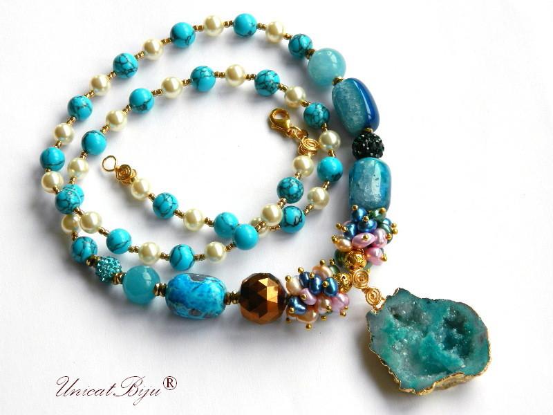 colier lung semipretioase, turcoaz, perle swarovski, agat druzy aurit, cristal electroplacat, agat albastru, angelit, unicatbiju