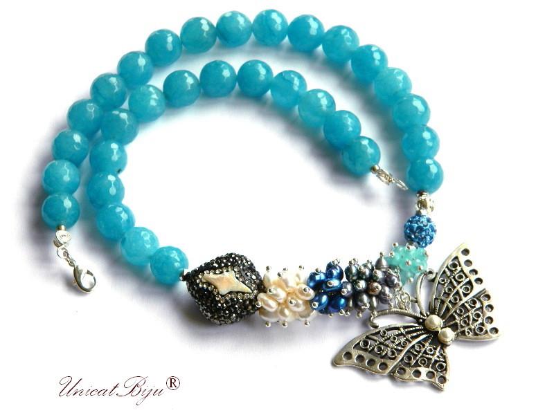 colier statement, bijuterii semipretioase unicat, angelit, perle gri, perle keshi, rhinestone, fluture argintat, jad turcoaz, perle albastre, unicatbiju