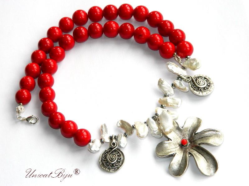 colier statement, jad rosu masiv, bijuterii semipretioase unicat, perle biwa albe, floare salba argintata, coral, hematit argintat, unicatbiju